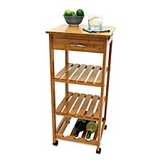 image of Lipper International Bamboo Rolling Cart with Wine Rack