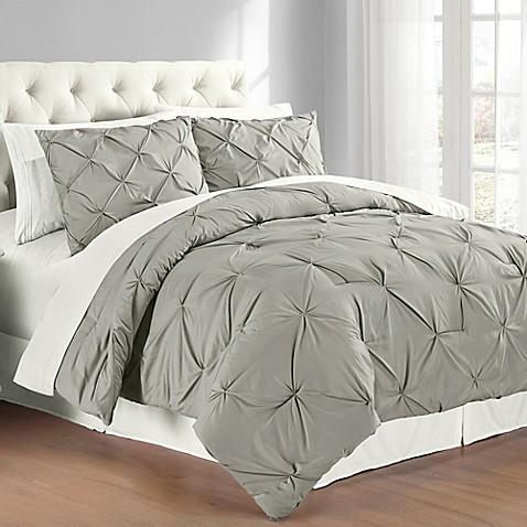 Buy Pintuck Full Queen Comforter Set In Grey From Bed Bath
