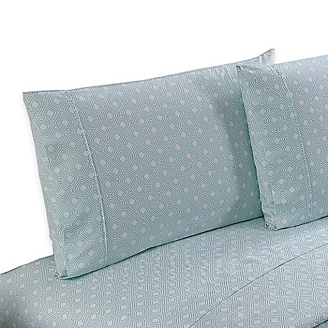 Buy clairebella diamond reversible queen sheet set in aqua for Clairebella