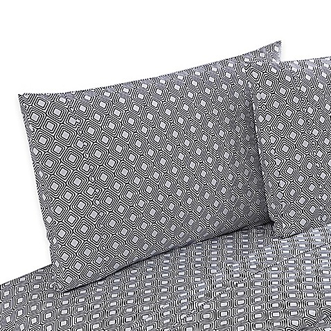 Buy clairebella diamond reversible queen sheet set in navy for Clairebella