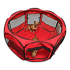 image of OxGord® Portable Octagon Fabric Pet Play Pen with Mesh Windows