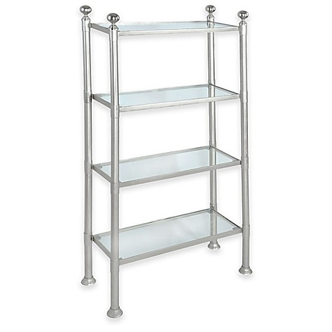 4 Shelf Large Steel And Glass Storage Unit In Pewter Bed