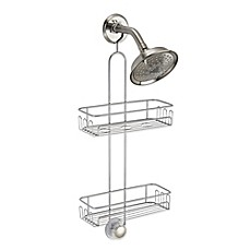 image of InterDesign® Turn-N-Lock 2-Tier Hanging Shower Caddy in Silver