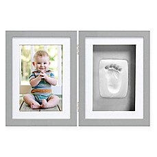 image of pearhead babyprints 4 inch x 6 inch desk frame in grey