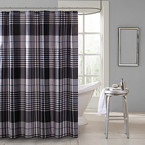 Intelligent design nathan shower curtain in blue bed - Intelligent shower ...