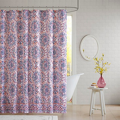 Intelligent design zoe shower curtain in coral bed bath - Intelligent shower ...