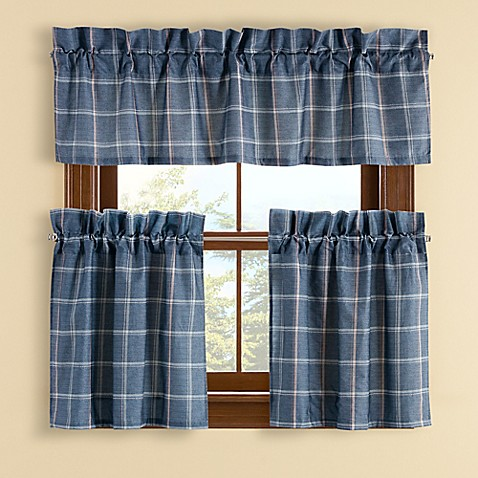 Buy Branklyn Plaid 24 Inch Window Curtain Tier Pair In Blue From Bed Bath Beyond