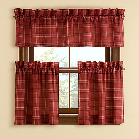 Buy Branklyn Plaid 24 Inch Window Curtain Tier Pair In Red