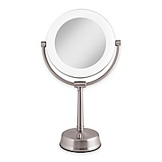 image of Zadro™ 1X/10X Fluorescent Sunlight Vanity Mirror in Satin Nickel