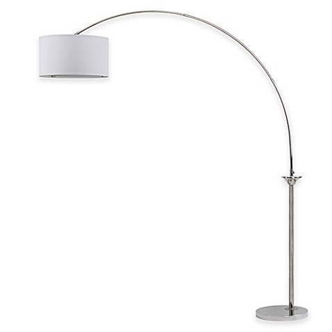 Safavieh Mira Arc Floor Lamp In Nickel With Cotton Shade