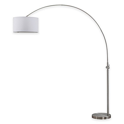 Safavieh Ascella Arc Floor Lamp in Nickel with Cotton Shade - Bed ...