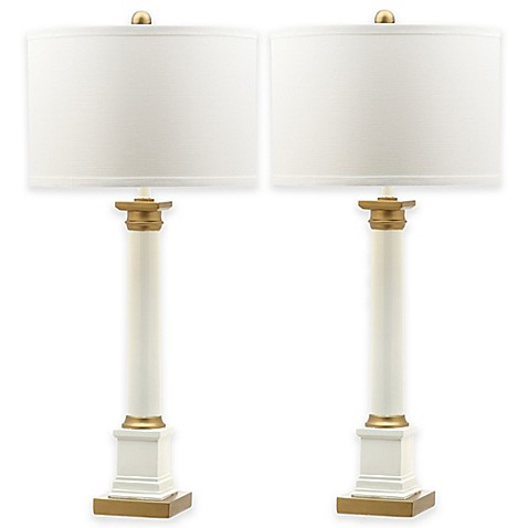 Safavieh Henley Table Lamps in White/Gold with Cotton Shade (Set of 2)