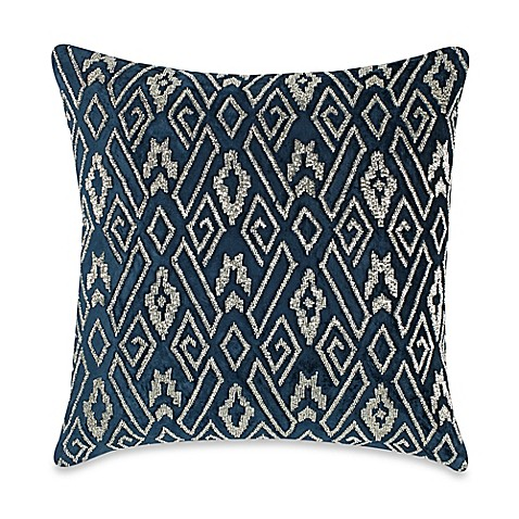 Silver Beaded Decorative Pillow : Callisto Home Velvet Plush Beaded Square Throw Pillow in Navy/Silver - Bed Bath & Beyond
