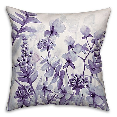 Flower Dream Square Throw Pillow In Purple Bed Bath Amp Beyond