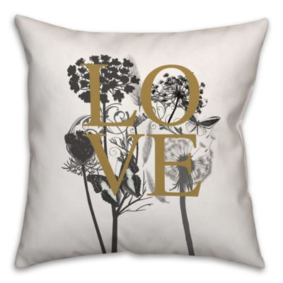 Black And Ivory Throw Pillows : Buy Love Nature 16-Inch Square Throw Pillow in Ivory/Black from Bed Bath & Beyond