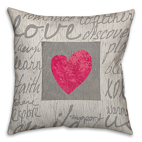 Throw Pillows With Words On Them : Buy Love Words 18-Inch Square Throw Pillow in Grey from Bed Bath & Beyond