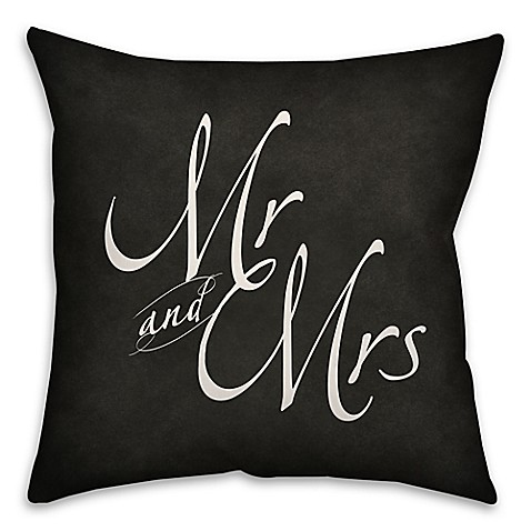 Quot Mr Amp Mrs Quot 18 Inch Square Throw Pillow In Black Bed