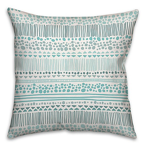 Buy Tribal 18-Inch Square Throw Pillow in Turquoise from Bed Bath & Beyond