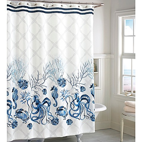 octavia shower curtain in blue bed bath amp beyond shower curtains bed bath amp beyond