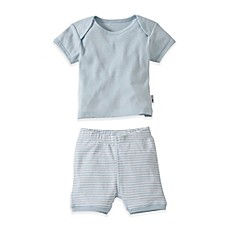 image of Burt's Bees Baby® 2-Piece Organic Cotton T-Shirt and Striped Short Set in Blue