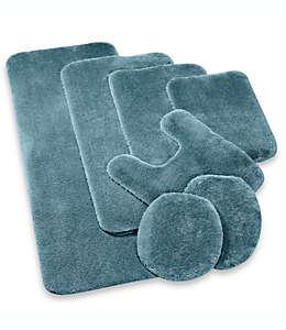 Cubierta alargada para tapa de inodoro Wamsutta® Duet en azul mar