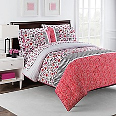 image of Nantucket Rose 7-Piece Reversible Comforter Set by Robin Zingone in Pink/Black