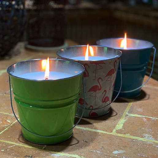 Patio Essentials 18 Oz. Printed Bucket Citronella Candle. View a larger version of this product image.