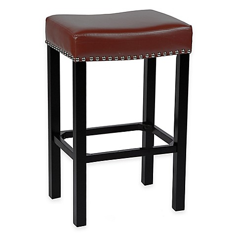 Amy Bonded Leather Bar Stool With Chrome Nailhead Trim