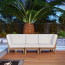 image of Modway Marina 3-Piece Outdoor Patio Teak Conversation Set in Natural/White