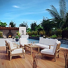 image of Modway Marina 8-Piece Outdoor Patio Teak Sofa Set in Natural/White