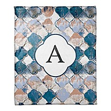 image of Drippy Quatrefoil Monogram Throw Blanket in Blue/Pink