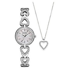 image of Bulova Ladies' 22mm Crystal-Accented Watch in Stainless Steel and Crystal Heart Pendant Necklace Set