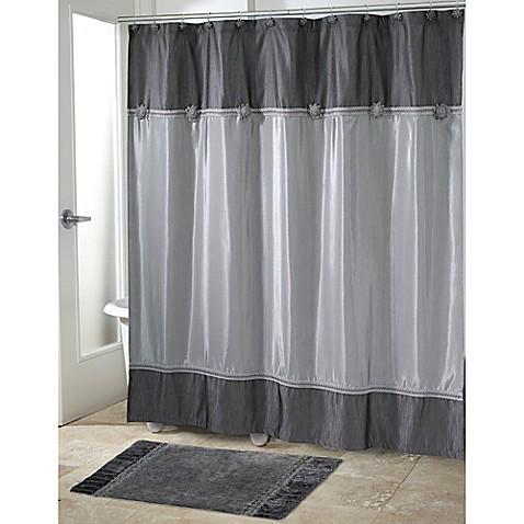 Avanti Braided Medallion Shower Curtain In Granite Bed