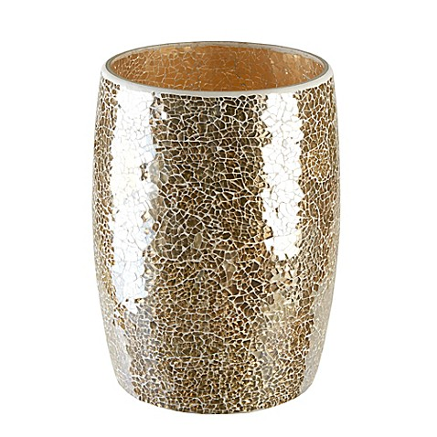 Gold crackle mosaic glass wastebasket bed bath beyond for Gold bathroom wastebasket