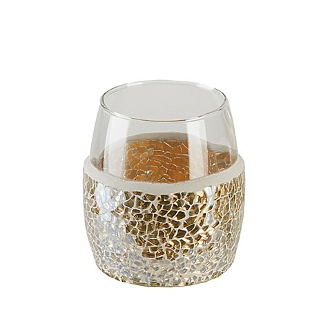 Buy gold crackle mosaic glass tumbler from bed bath beyond for Gold crackle bathroom accessories