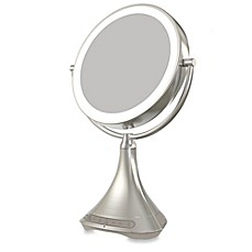 image of iHome® 1X/7X Portable Double-Sided 9-Inch Vanity Mirror with Bluetooth® Speaker