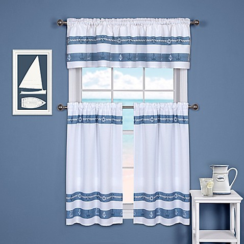 Ships And Chambray Kitchen Window Curtain Tier And Valance Bed Bath Beyond