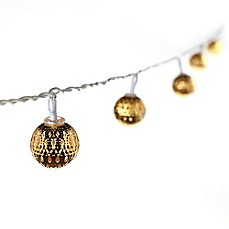 image of 16-Piece Lighted Pierced Moroccan Gold Ball String Light Set