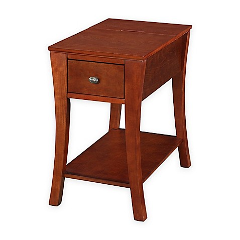 angled leg end table with drawer and usb power ports in cherry bed bath beyond. Black Bedroom Furniture Sets. Home Design Ideas