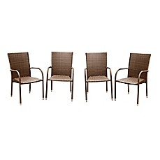 Image Of Abbyson Living® Palermo Outdoor Wicker Dining Armchairs In Brown ( Set Of 4