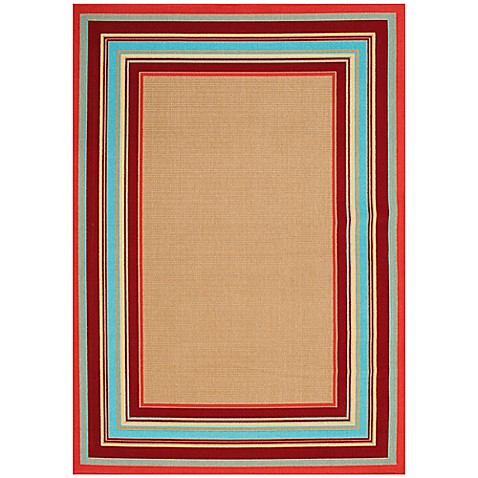 Image Of Miami Border Stripe Indoor/Outdoor Rug In Beige Multi