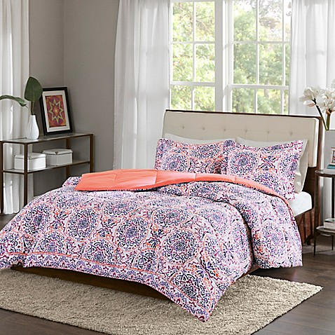 buy intelligent design zoe reversible twin twin xl duvet cover set in coral from bed bath beyond. Black Bedroom Furniture Sets. Home Design Ideas