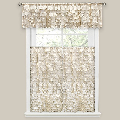 Gigi Bath Window Curtain Panel and Valance in Ivory - Bed Bath & Beyond