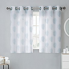 image of coral reef 38inch bath window curtain tier pair in grey mist