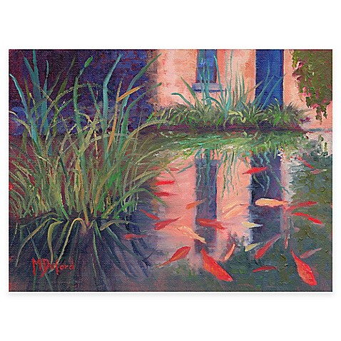 Coy koi all weather outdoor canvas wall art bed bath for Koi canvas art
