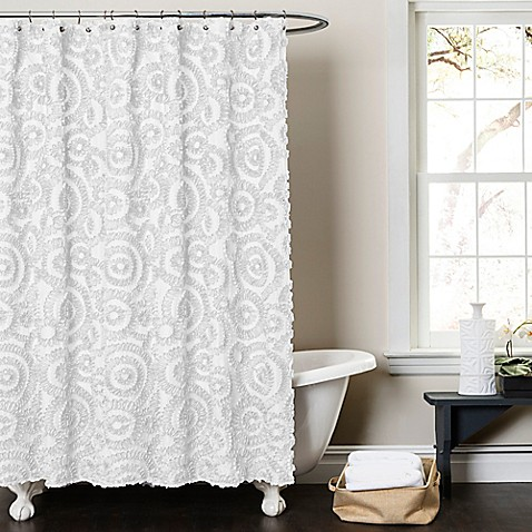 Lush Décor Keila 72-Inch x 72-Inch Shower Curtain in White