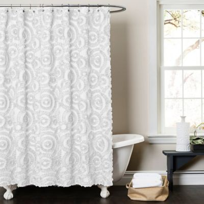 Lush Decor Keila Shower Curtain In White