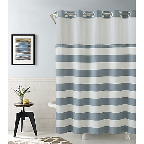 Hookless coral reef and cabana stripe shower curtains for Coral reef bathroom decor
