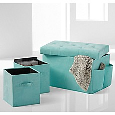 image of 24-Inch Folding Storage Ottoman with Two Folding Storage Cubes