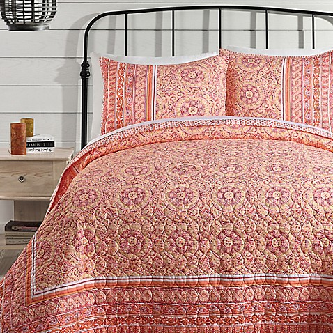 Buy Jessica Simpson Mosaic Border King Quilt In Coral From
